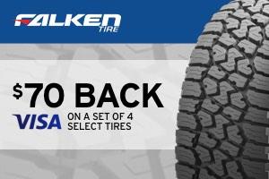 $70 back on a set of 4 select Falken tires