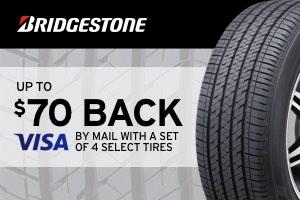 Bridgestone: $70 back on a set of select tires