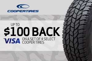 Up to $100 back on a set of Cooper tires