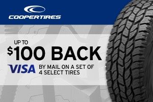 Cooper: Up to $100 back on a set of select tires