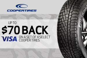 Cooper: Up to $70 back on a set of 4 select tires