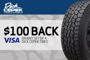 $100 back on any set of Dick Cepek tires