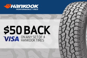 Hankook: $50 back on any set of 4 tires