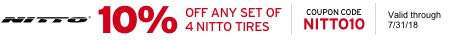 NITTO10 -- 10% off any Nitto order