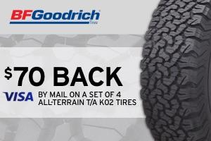 BFGoodrich: $70 back on a set of 4 All-Terrain T/A KO2 tires