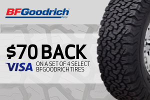 BFGoodrich: $70 back on any set of 4 select tires