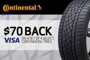 Continental: $70 back on a set of select 4 tires