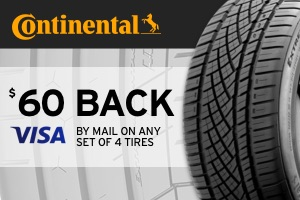 Continental: $60 back on a set of 4 tires