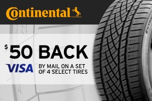 Continental: $50 back on a select set of 4 tires