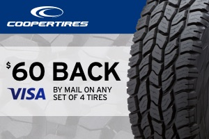 Cooper: $60 back on any set of 4 tires