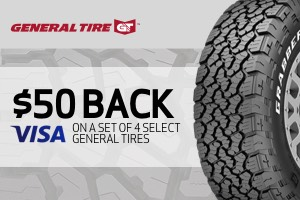 General: $50 back on a set of 4 select tires
