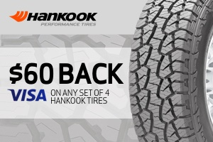 Hankook: $60 back on a set of 4 tires