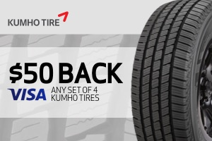 Kumho: $50 back on any set of 4 tires