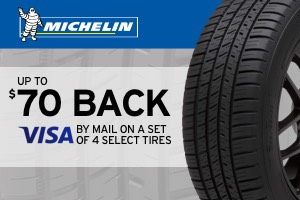 $70 back on select Michelin tires