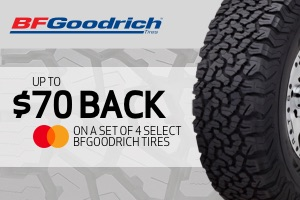 BFGoodrich: $70 back on a set of 4 select tires