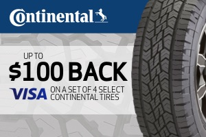Continental: Up to $100 back on any set of 4 select tires