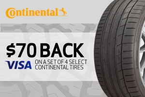 Continental: $70 back on any set of 4 select tires