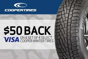 Cooper: $50 back on a set of 4 select winter tires