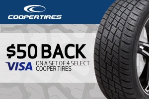 Cooper: $50 back on a set of 4 select tires