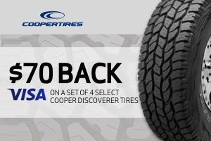 Cooper: $70 back on a set of select tires