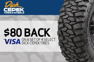 Dick Cepek: $80 back on a select set of 4 tires