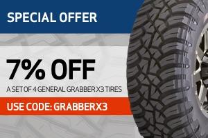 General: 7% off a set of 4 Grabber X3 tires
