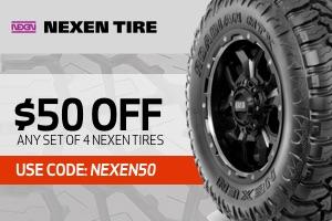 Nexen: $50 off on a set of 4 tires