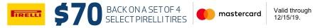 Pirelli $70 Mail in rebate