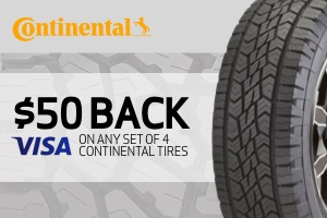 Continental: $50 back on any set of 4 tires