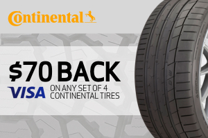 Continental: $70 back on any set of 4 tires