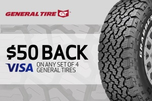 General: $50 back on any set of 4 tires