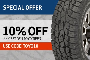 Toyo: 10% back on any set of 4 tires