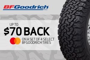 BFG: Up to $70 back on a select set of 4 tires