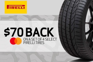 Pirelli: $70 back on a select set of 4 tires