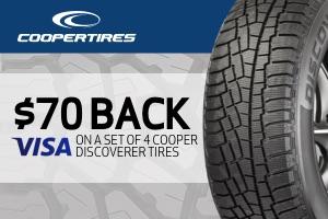 Cooper: $70 back on a set of 4 tires