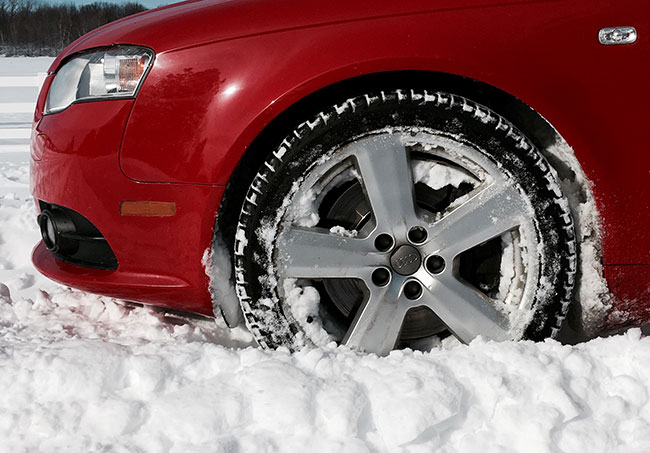 Winter tires on a car
