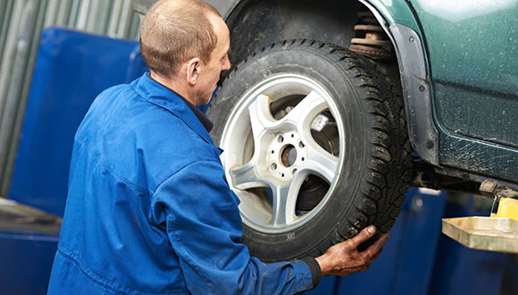 Mounting a tire on a car