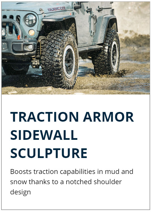 Traction Armor Sidewall Sculpture boosts traction capabilities in mud and snow